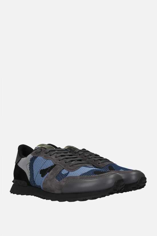 VALENTINO GARAVANI: Rockrunner Camouflage technical knit and suede sneakers Color Black_2