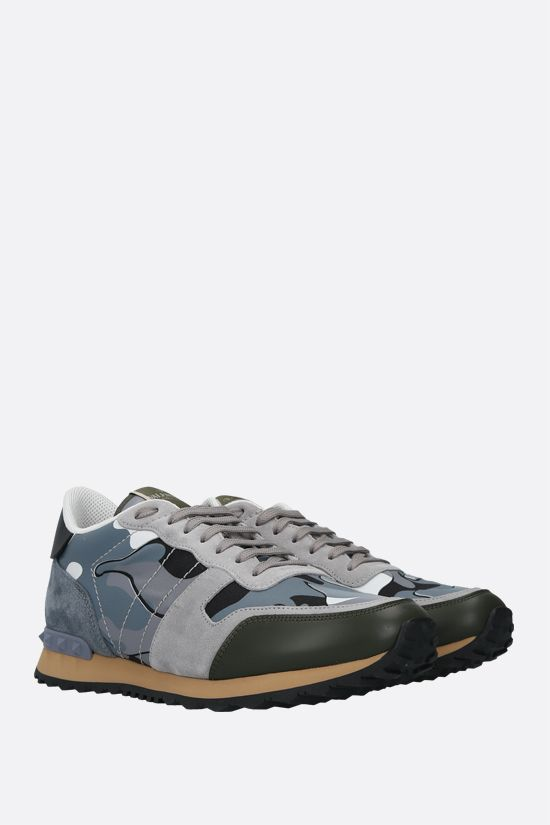VALENTINO GARAVANI: Rockrunner Camouflage nappa and suede sneakers Color Grey_2