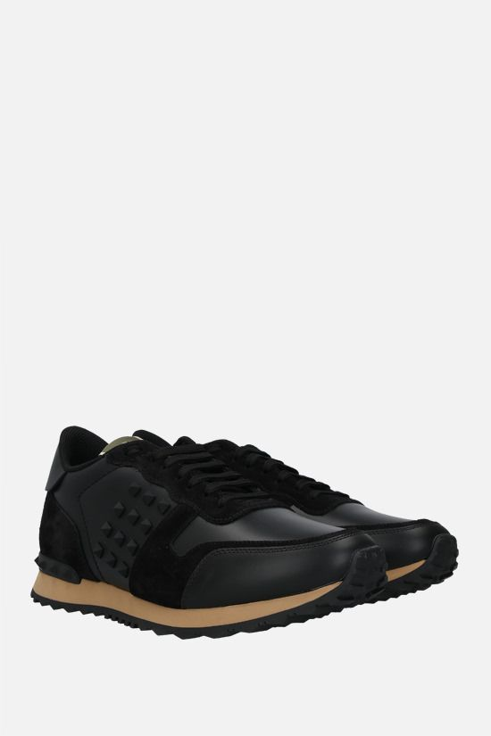 VALENTINO GARAVANI: Rockrunner nappa and suede sneakers Color Black_2