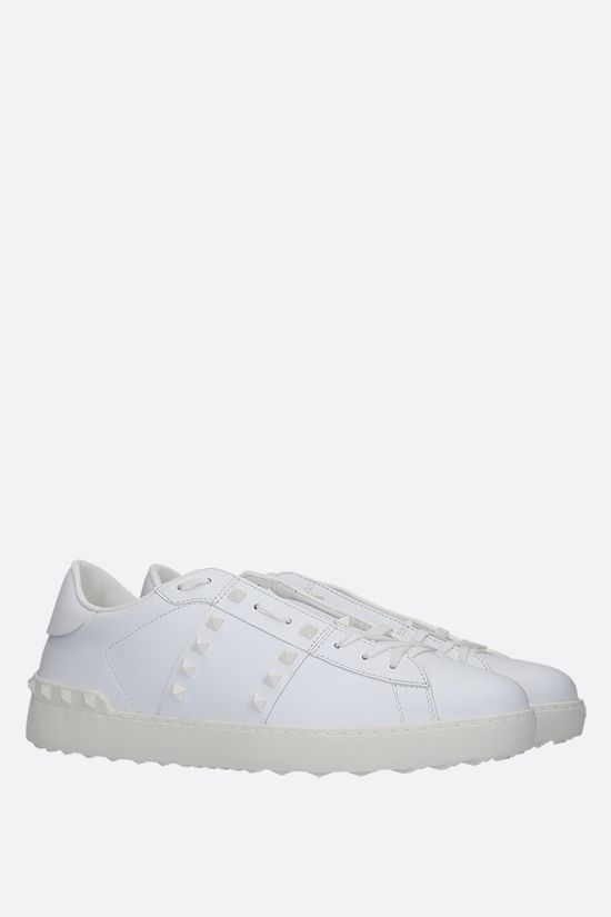 VALENTINO GARAVANI: Rockstud Untitled smooth leather sneakers Color White_3