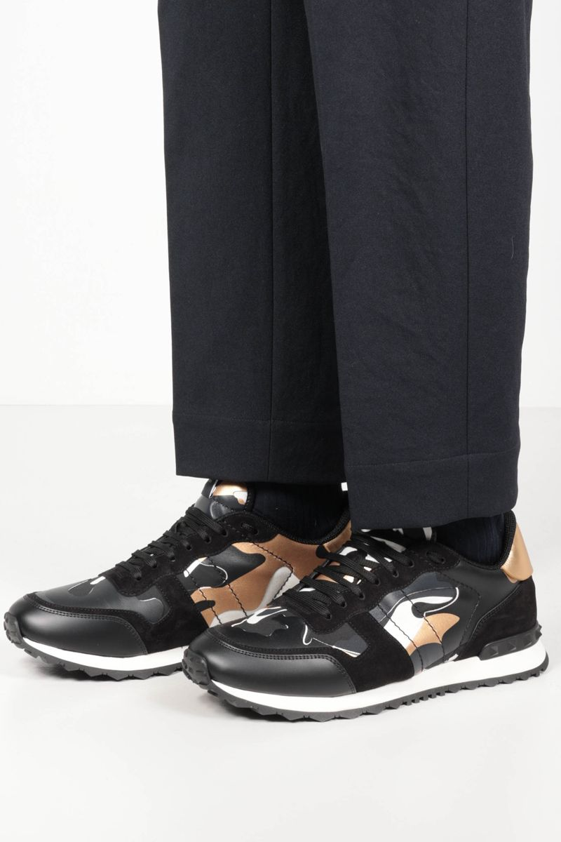 VALENTINO GARAVANI: Rockrunner Camouflage suede and smooth leather sneakers Color Gold_2