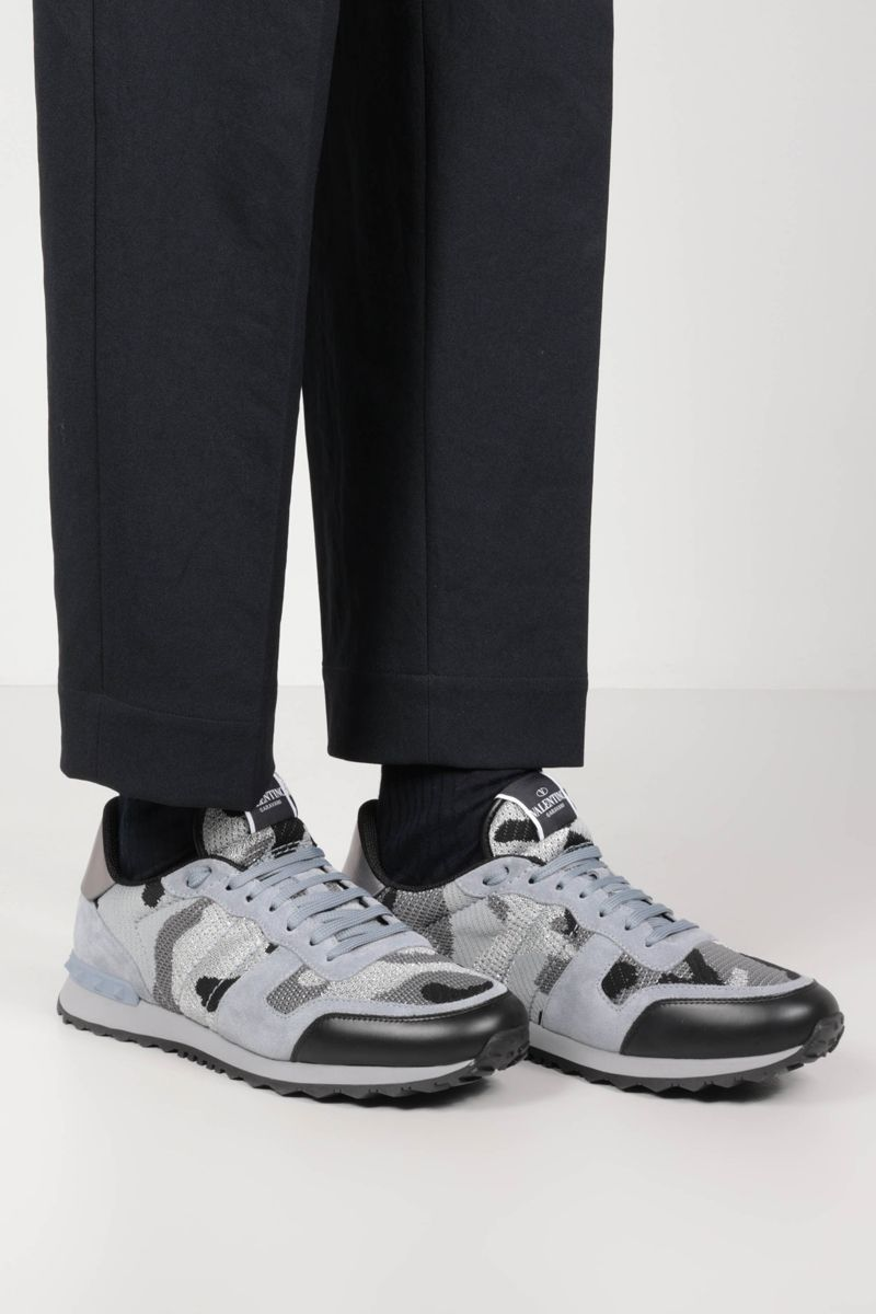 VALENTINO GARAVANI: Rockrunner Camouflage suede and lurex knit sneakers Color Grey_2