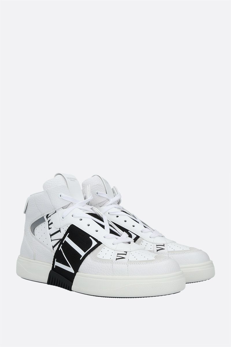 VALENTINO GARAVANI: VL7N smooth and grainy leather mid-top sneakers Color White_2
