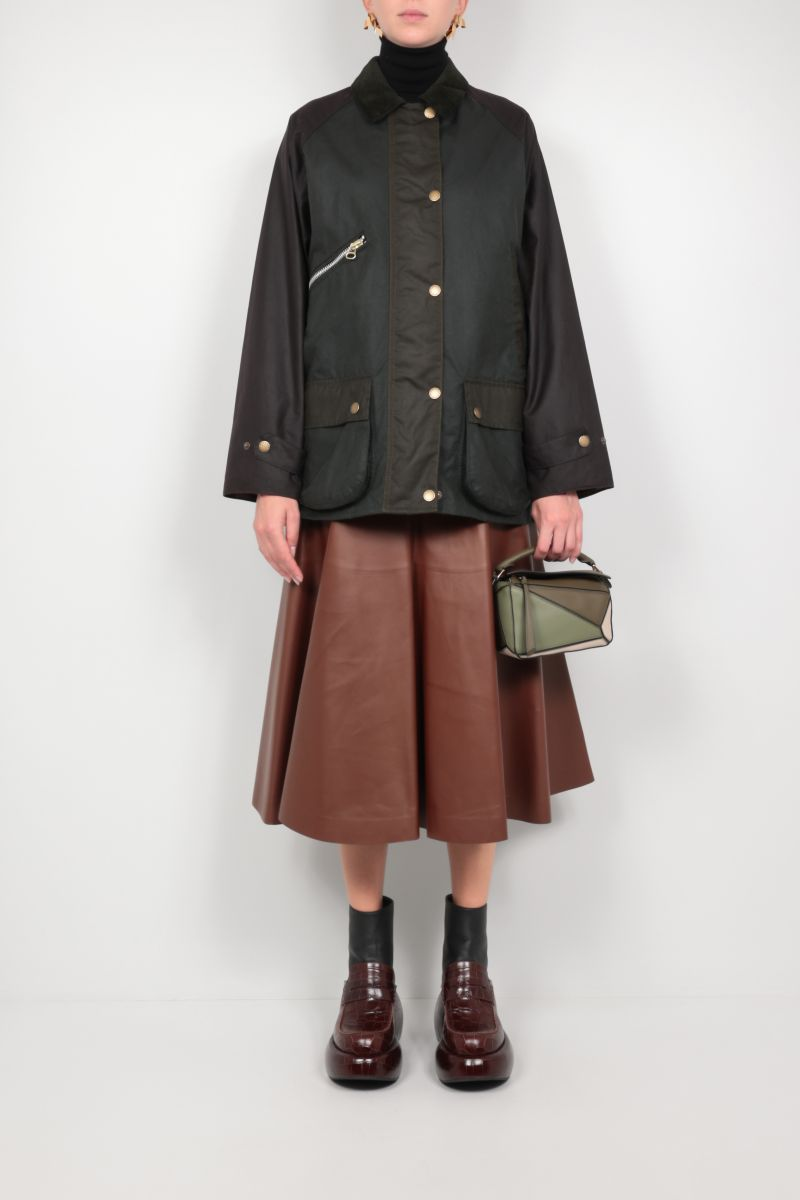BARBOUR BY ALEXA CHUNG: Benedict waxed canvas jacket Color Green_2