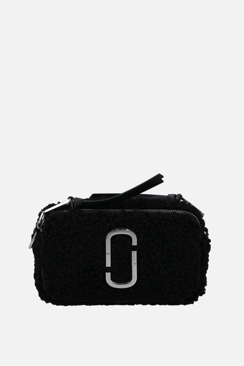 MARC JACOBS: Snapshot Teddy small faux shearling camera bag Color Black_1