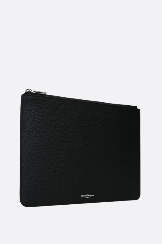 MAISON MARGIELA: smooth and textured leather clutch Color Black_2