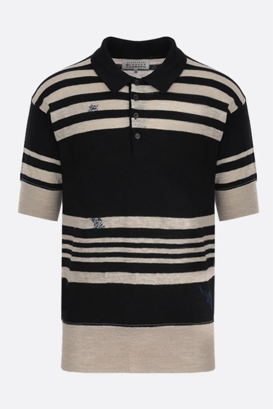 MAISON MARGIELA: wool linen blend short-sleeved pullover Color Black_1
