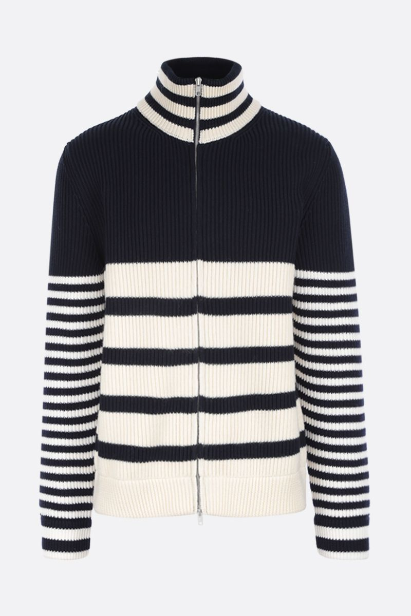 MAISON MARGIELA: striped wool cotton blend full-zip pullover_1