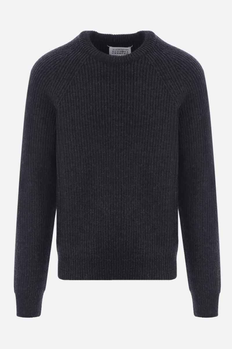 MAISON MARGIELA: ribbed wool pullover Color Black_1