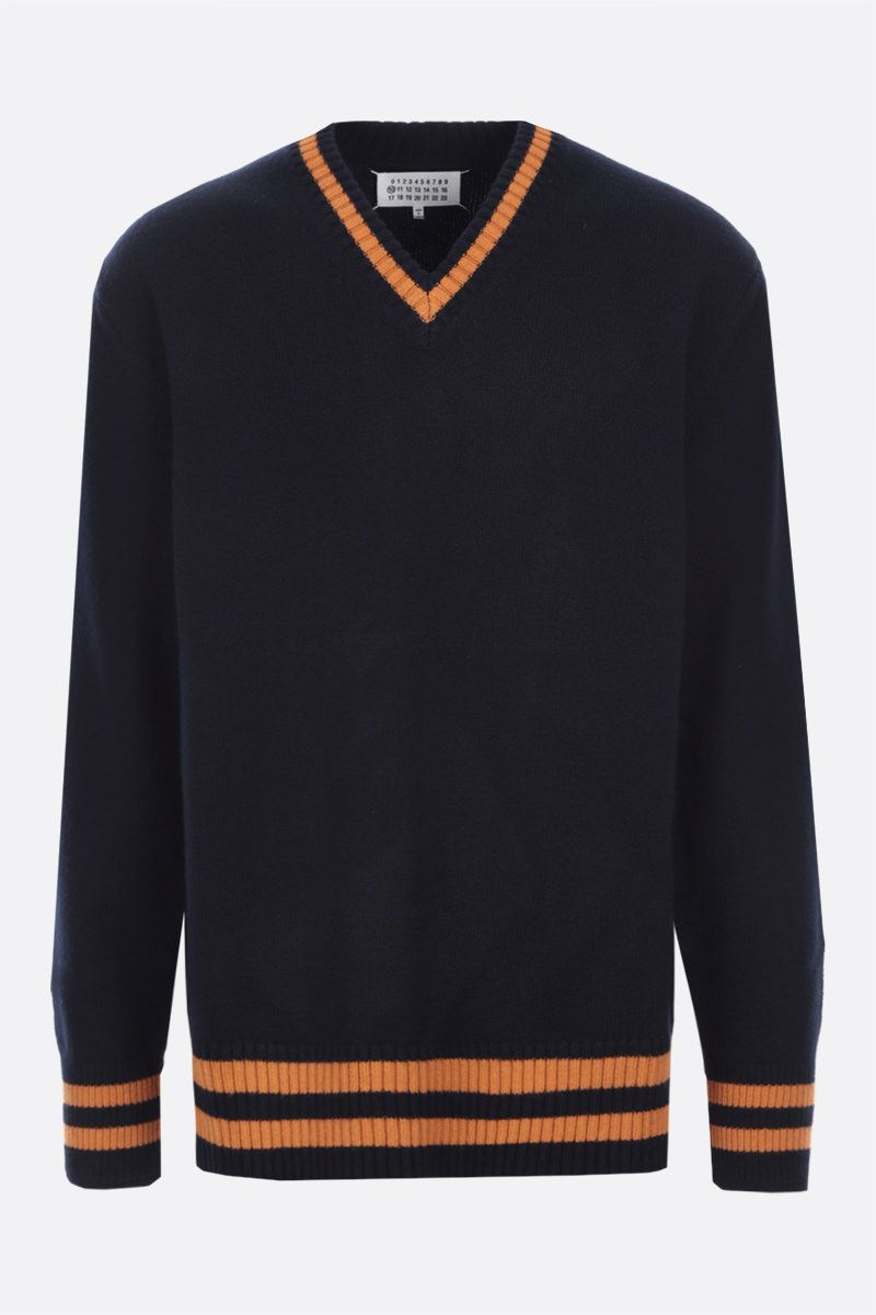 MAISON MARGIELA: striped wool pullover Color Blue_1