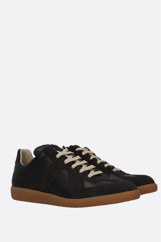 MAISON MARGIELA: Replica smooth leather and suede sneakers Color Black_2