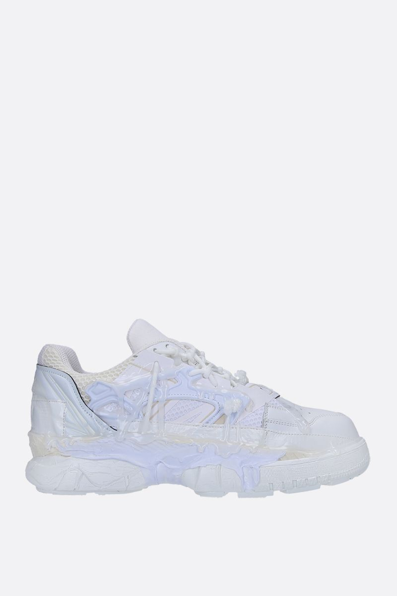 MAISON MARGIELA: Fusion sneakers in mesh and smooth leather Color White_1
