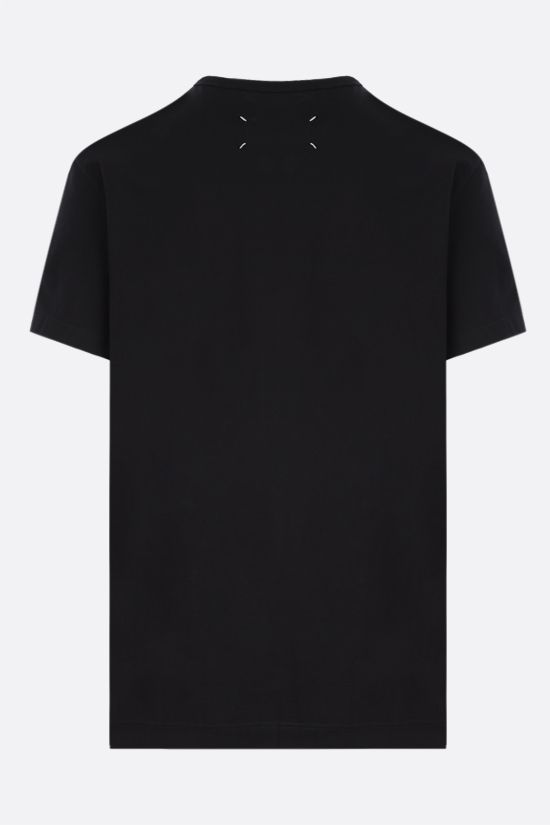 MAISON MARGIELA: logo embroidered cotton t-shirt Color Black_2