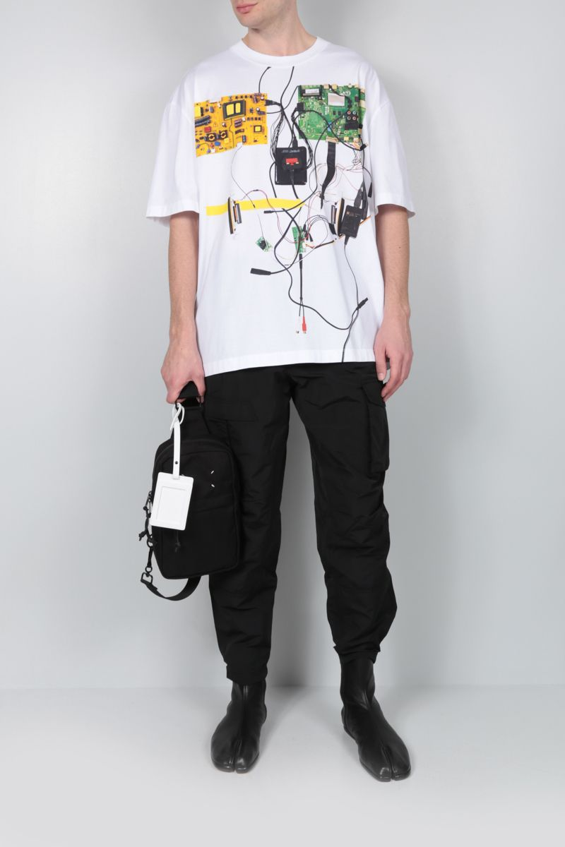 MAISON MARGIELA: Digital print cotton oversize t-shirt Color White_2
