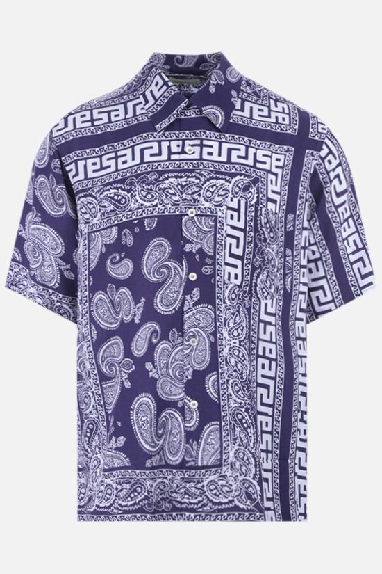 ARIES: Bandana print poplin bowling shirt Color Blue_1