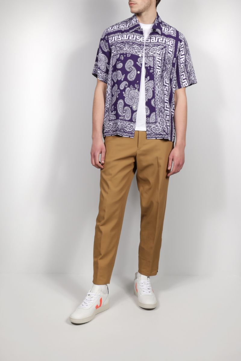 ARIES: Bandana print poplin bowling shirt Color Blue_2