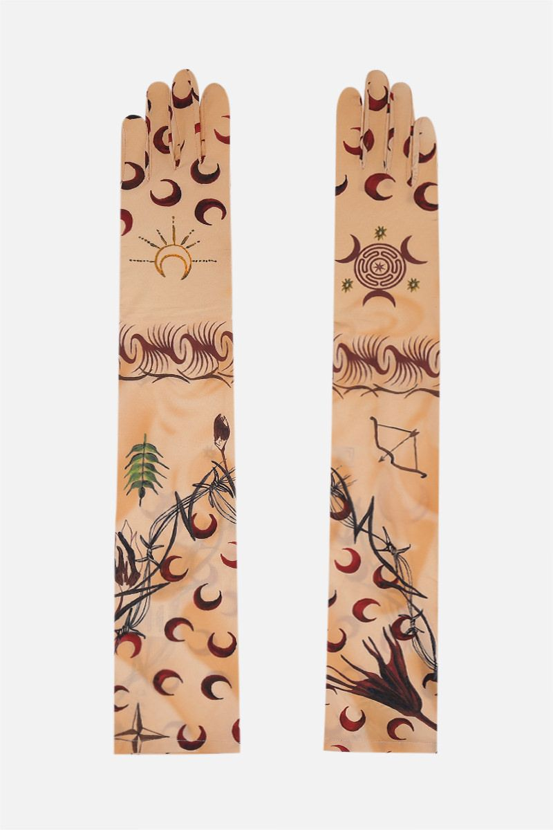 MARINE SERRE: Tattoo technical jersey long gloves Color Multicolor_1