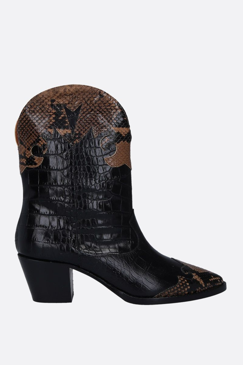 PARIS TEXAS: python and crocodile embossed leather western boots Color Black_1