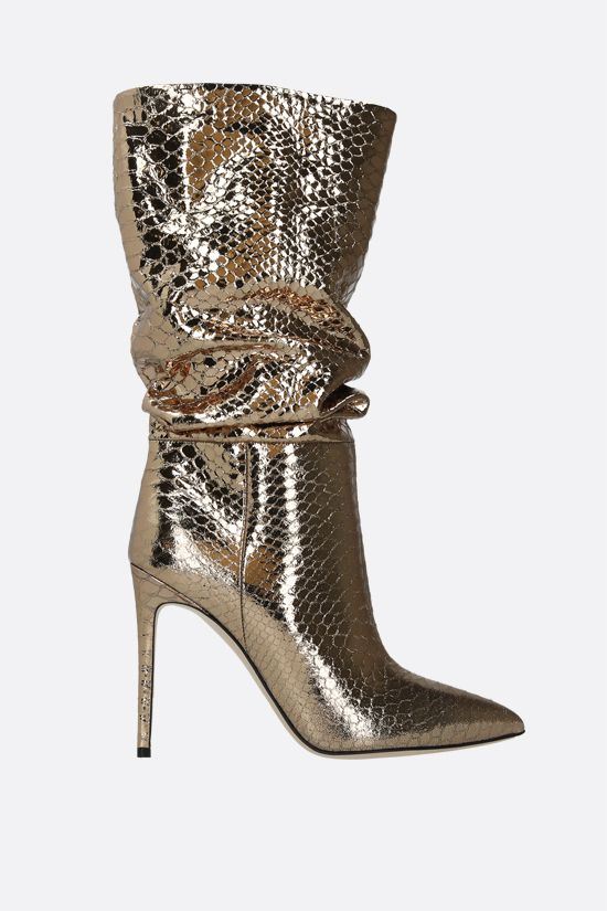PARIS TEXAS: laminated python-embossed leather boots_1
