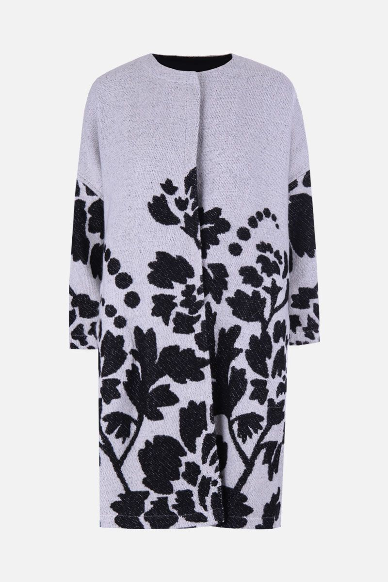MARIT ILISON: LFS Reversible coat in floral jacquard Color Black_1