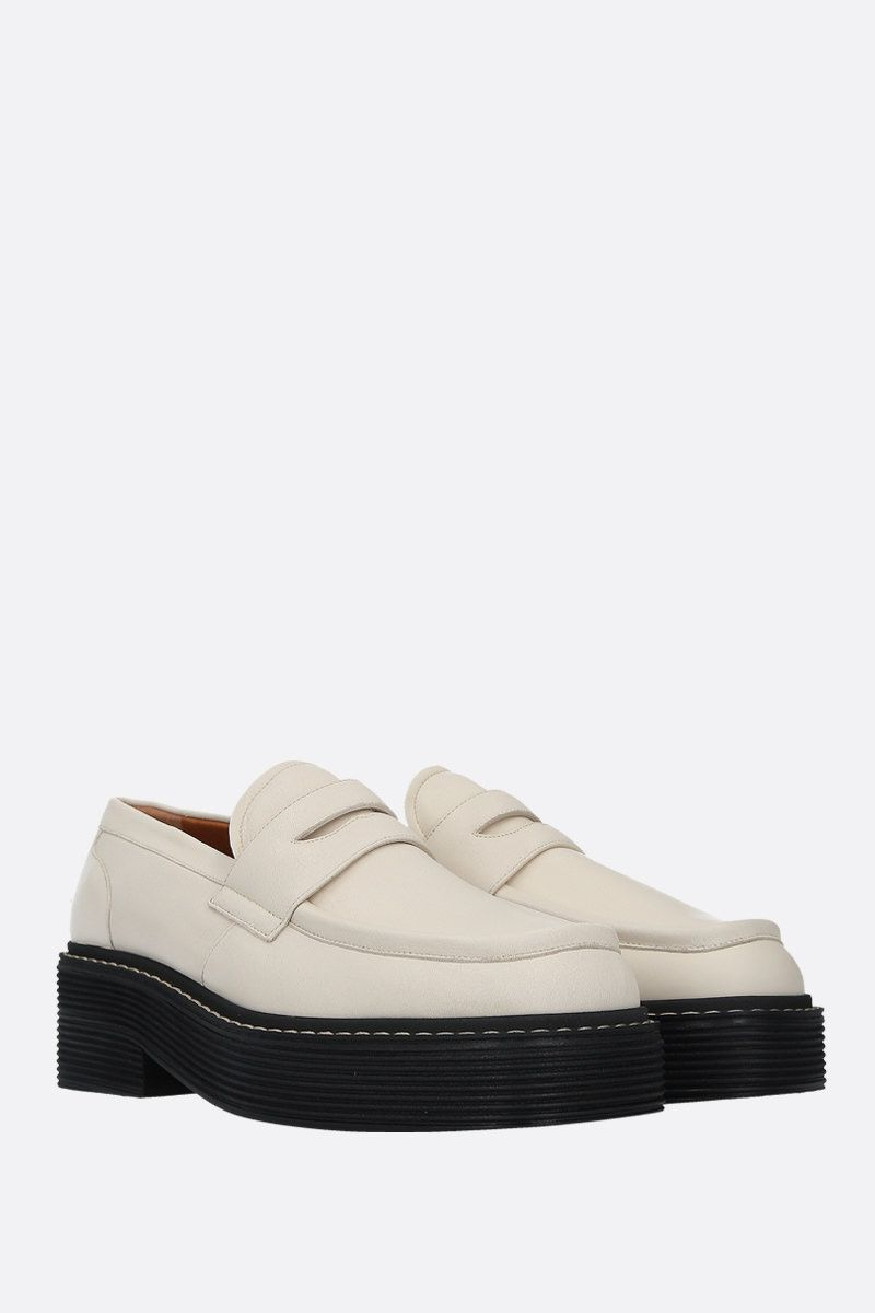 MARNI: smooth leather flatform loafers Color White_2