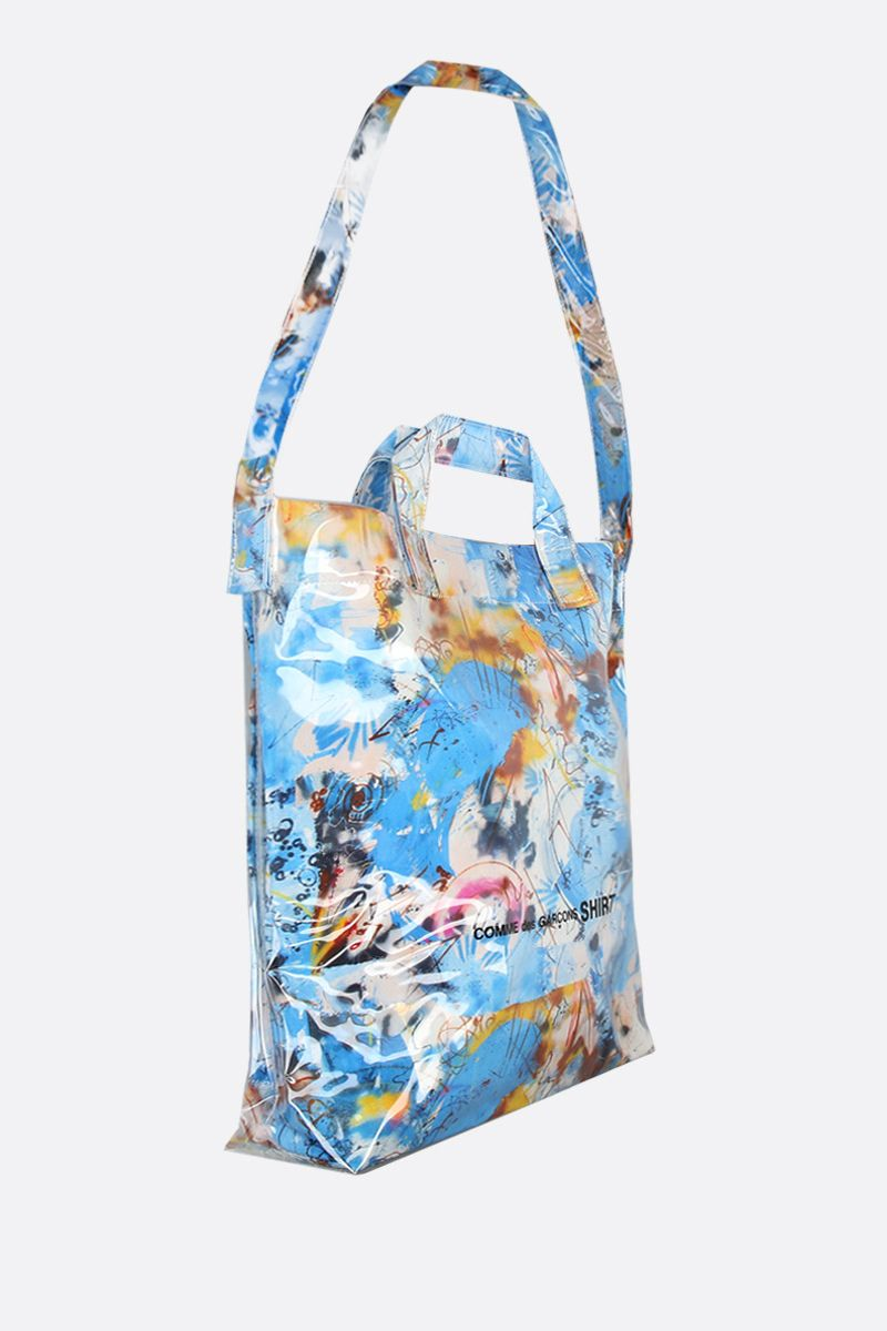 COMME des GARCONS SHIRT: Futura print vinyl tote bag Color Blue_2