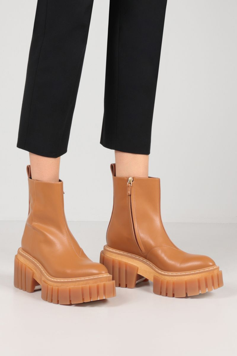 STELLA McCARTNEY: Emilie ankle boots in Alter Mat Color Brown_2