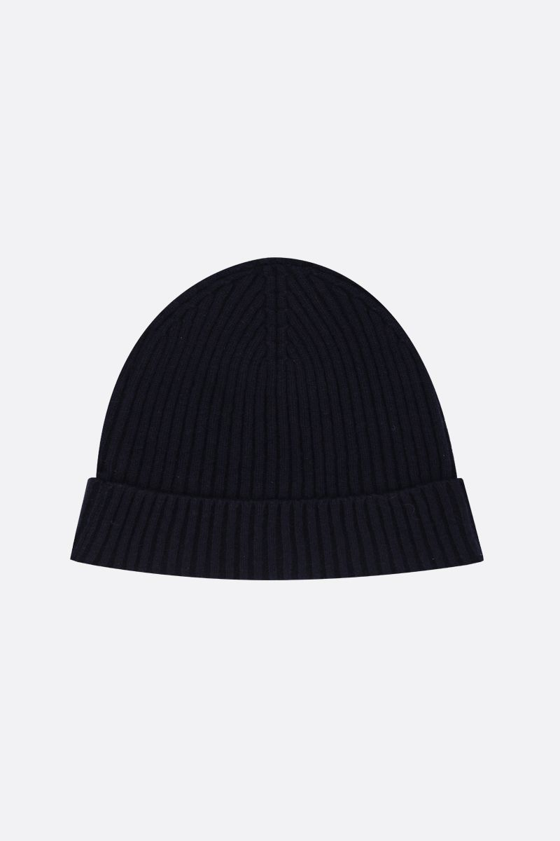 ASPESI: cashmere rib knit beanie Color Blue_2