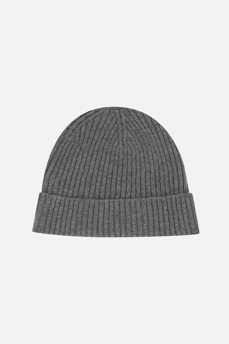 ASPESI: cashmere rib knit beanie Color Grey_2