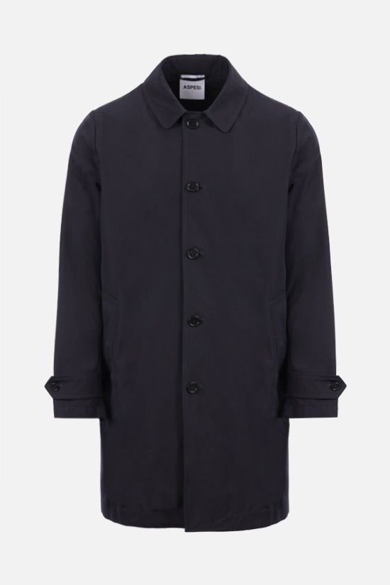 ASPESI: Lemon single-breasted overcoat in technical canvas Color Blue_1