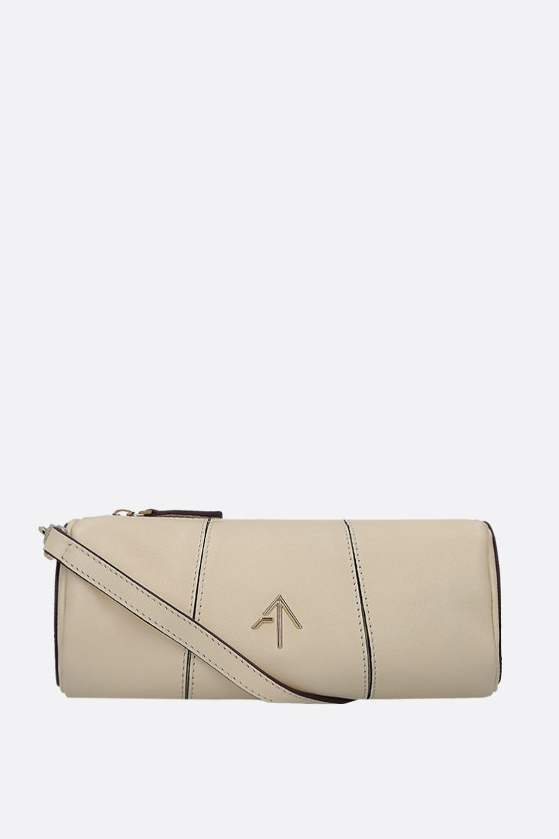 MANU ATELIER: Mini Cylinder crossbody bag in shiny leather Color White_2