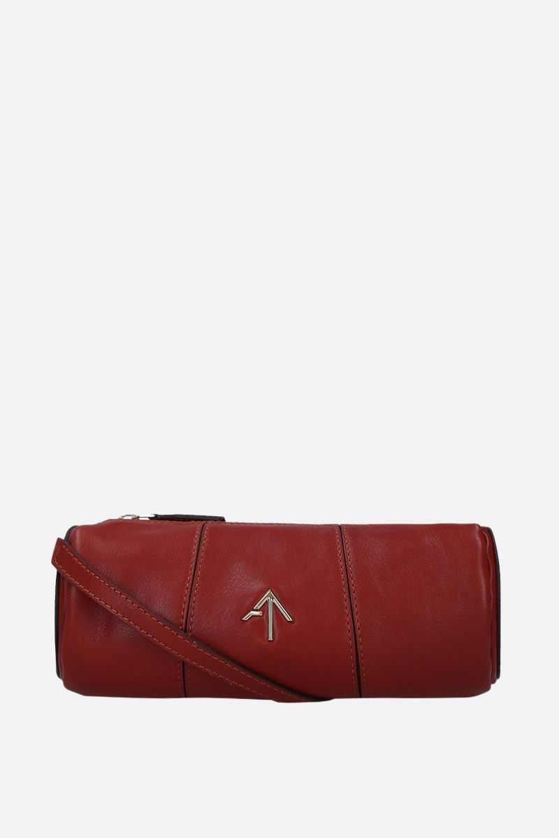 MANU ATELIER: Mini Cylinder crossbody bag in shiny leather Color Brown_2