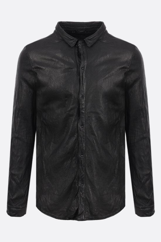 GIORGIO BRATO: perforated leather overshirt Color Black_1