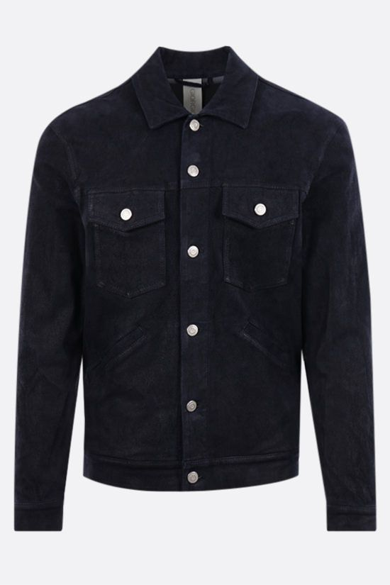GIORGIO BRATO: soft suede overshirt Color Blue_1