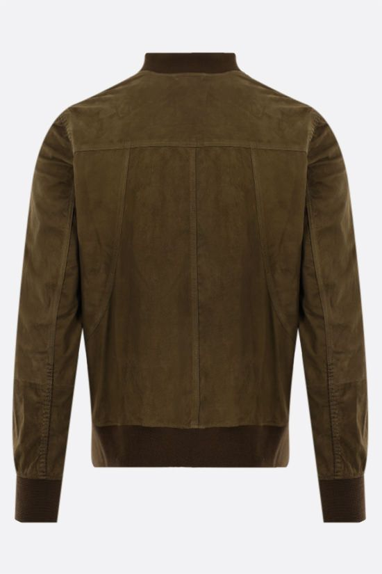 GIORGIO BRATO: soft suede bomber jacket Color Green_2