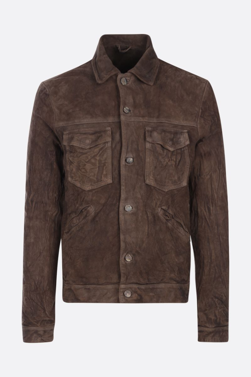 GIORGIO BRATO: crinkled-effect leather overshirt Color Grey_1
