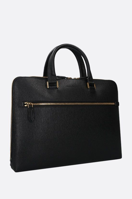 SALVATORE FERRAGAMO: Revival 3.0 textured leather business bag Color Black_2