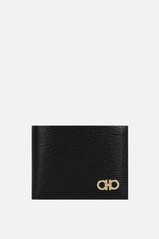 SALVATORE FERRAGAMO: Gancini logo-detailed textured leather billfold wallet Color Black_1