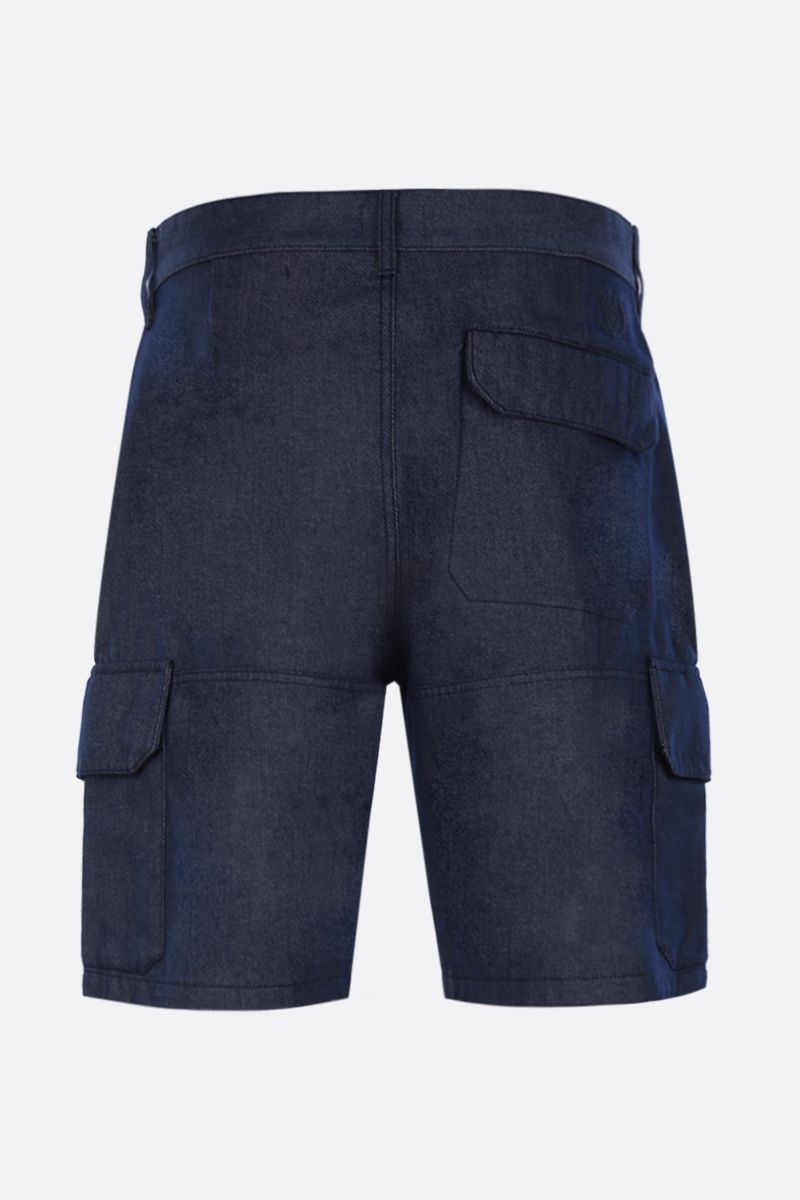 Eye/LOEWE/Nature: Eye/Loewe/Nature embroidered denim cargo shorts Color Blue_2
