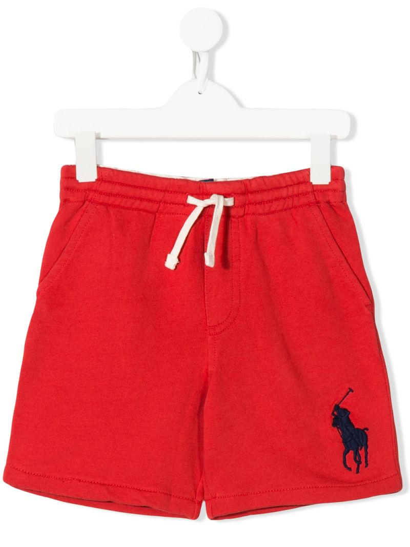 RALPH LAUREN KIDS: Big Pony embroidered cotton shorts Color Red_1