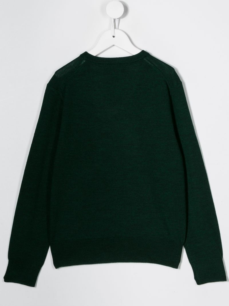 RALPH LAUREN KIDS: Pony embroidered wool pullover Color Green_2
