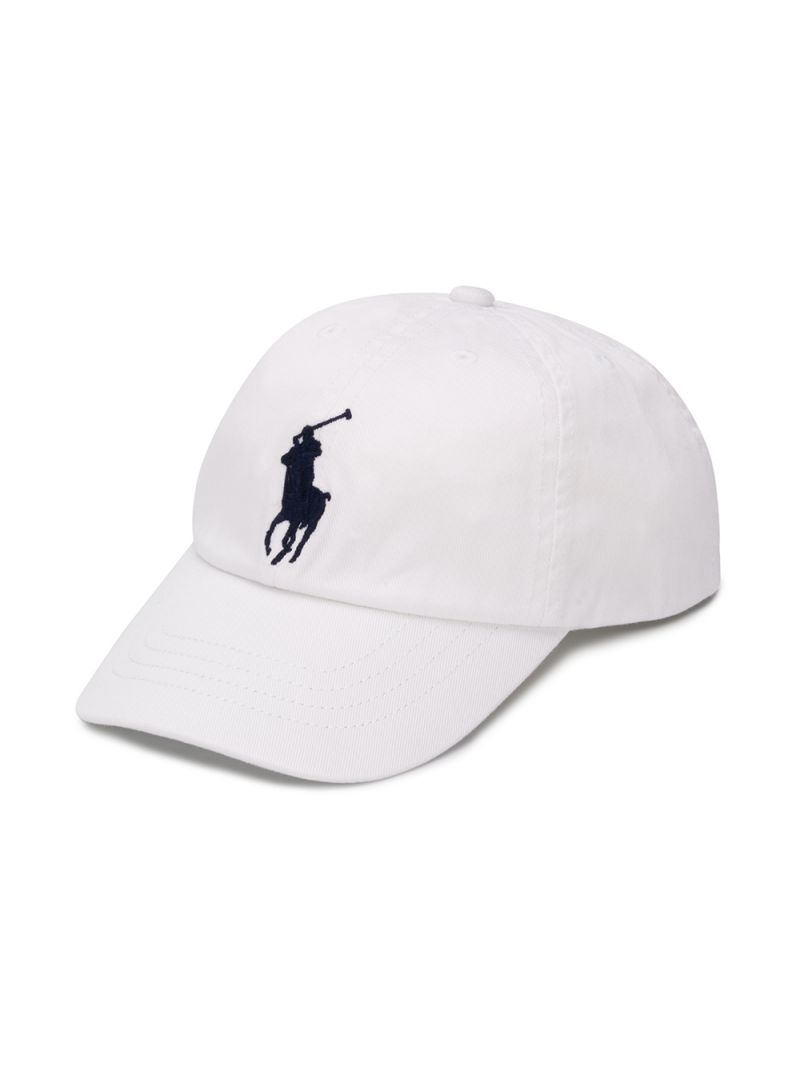 RALPH LAUREN KIDS: cappellino baseball in canvas ricamo Pony Colore Bianco_1
