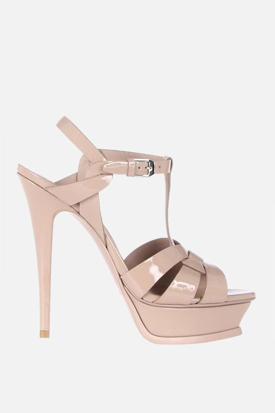 SAINT LAURENT: Tribute patent leather platform sandals Color Pink_1