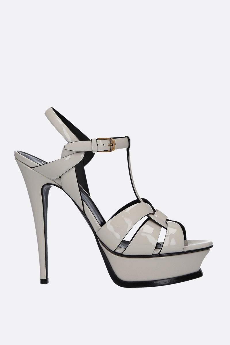 SAINT LAURENT: Tribute patent leather sandals Color Neutral_1