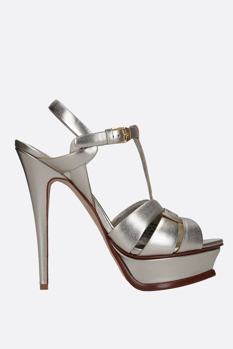 SAINT LAURENT: Tribute platform sandals in laminated leather Color Silver_1