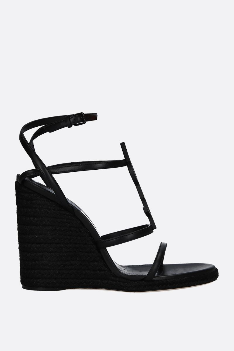SAINT LAURENT: Cassandra smooth leather wedge sandals Color Black_1