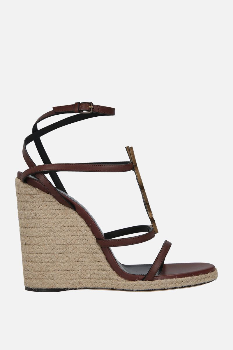 SAINT LAURENT: Cassandra smooth leather wedge sandals Color Brown_1