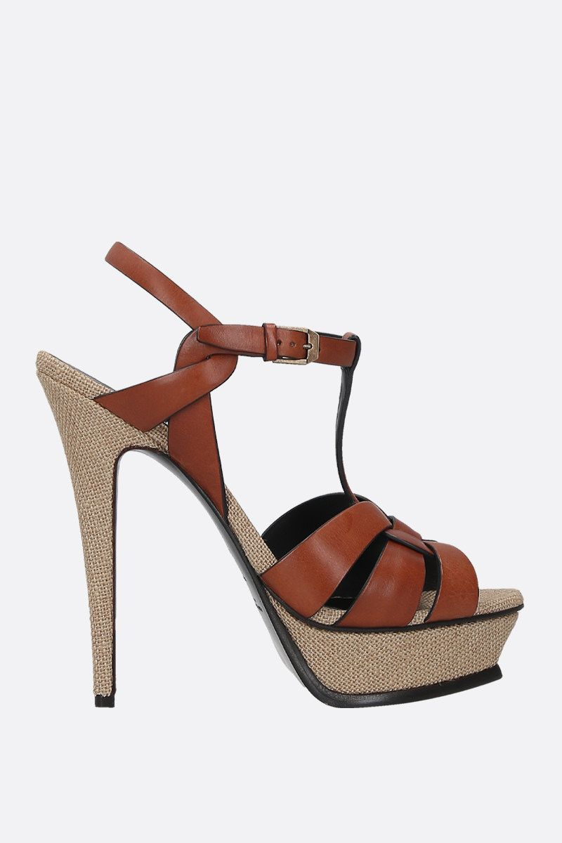 SAINT LAURENT: Tribute smooth leather and jute platform sandals_1