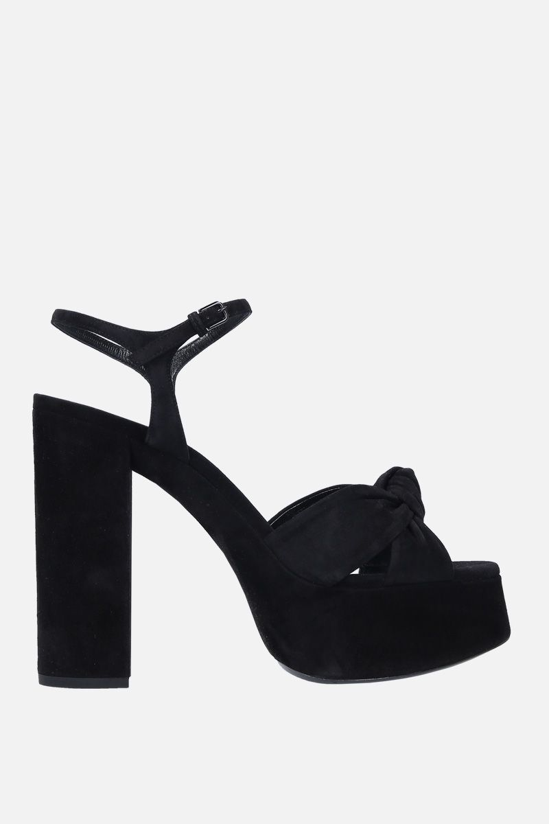 SAINT LAURENT: Bianca platform sandals in suede Color Black_1