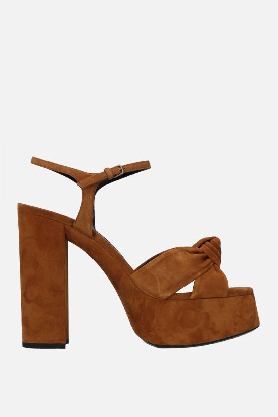 SAINT LAURENT: Bianca suede platform sandals Color Brown_1